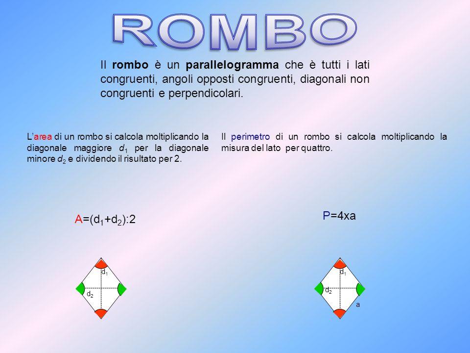 ROMBO Il rombo è un parallelogramma che è tutti i lati congruenti, angoli opposti congruenti, diagonali non congruenti e perpendicolari.