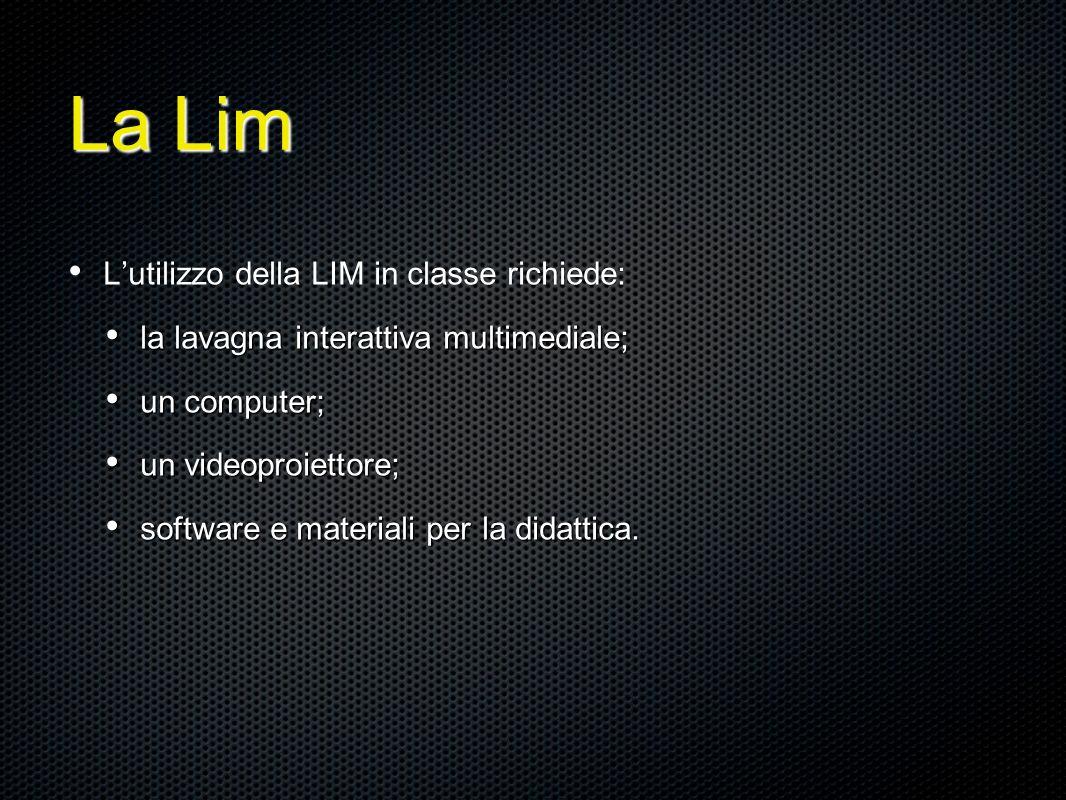 La Lim L'utilizzo della LIM in classe richiede: