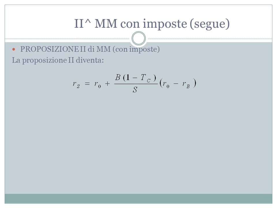 II^ MM con imposte (segue)