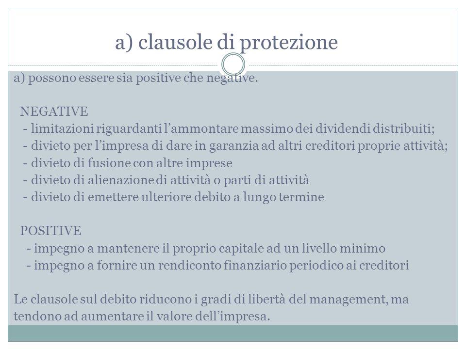 a) clausole di protezione