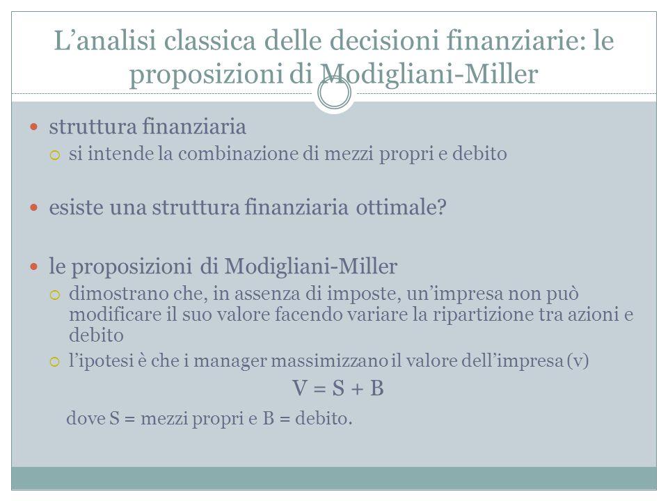 L'analisi classica delle decisioni finanziarie: le proposizioni di Modigliani-Miller