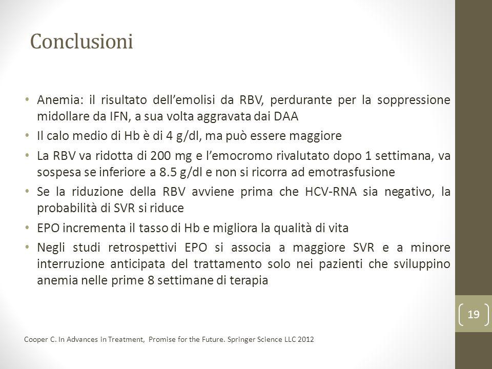 Conclusioni Anemia: il risultato dell'emolisi da RBV, perdurante per la soppressione midollare da IFN, a sua volta aggravata dai DAA.