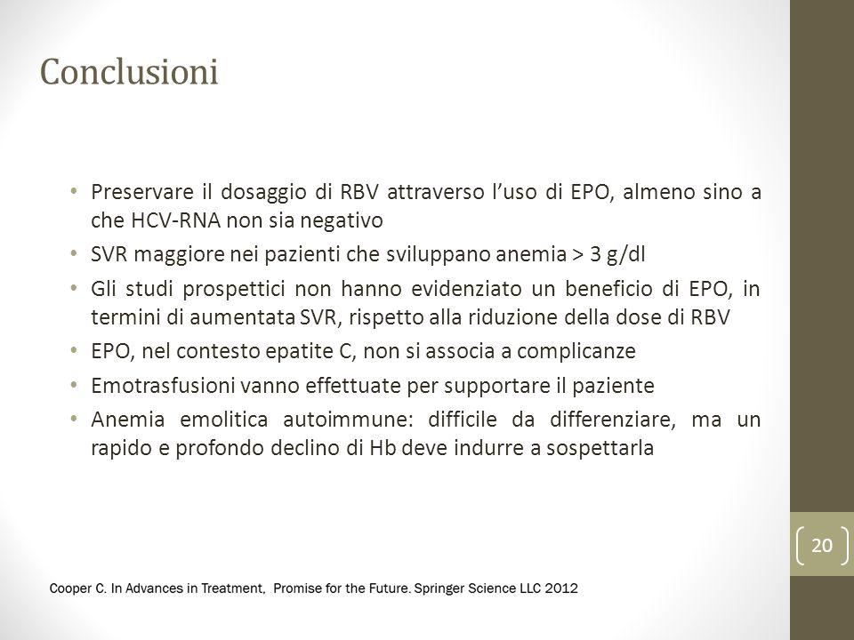 Conclusioni Preservare il dosaggio di RBV attraverso l'uso di EPO, almeno sino a che HCV-RNA non sia negativo.
