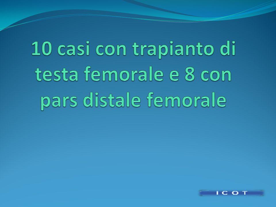 10 casi con trapianto di testa femorale e 8 con pars distale femorale