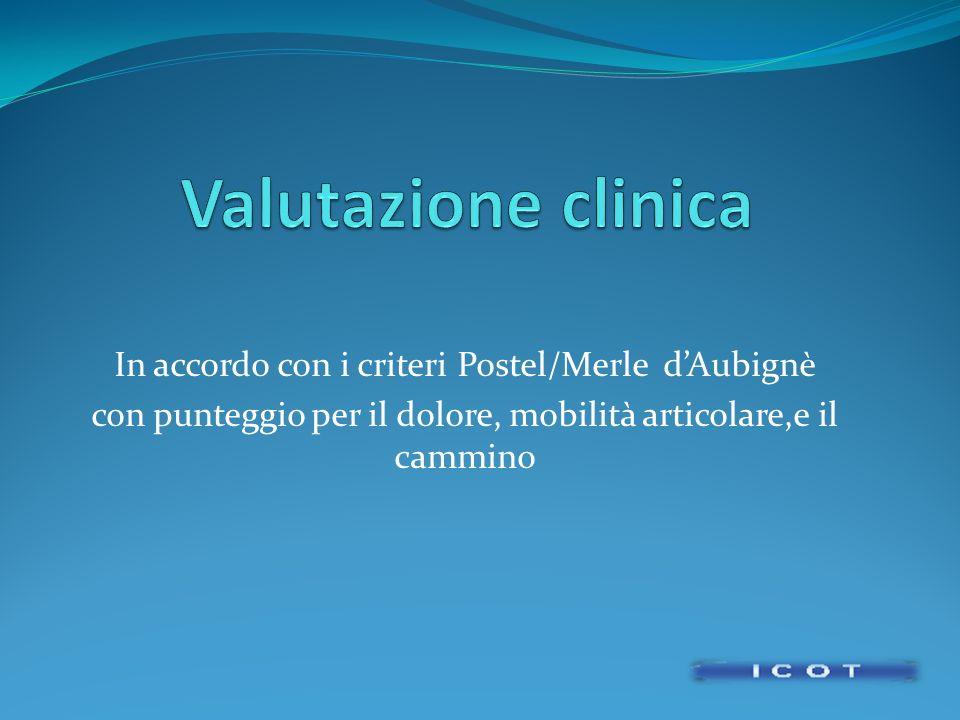 Valutazione clinica In accordo con i criteri Postel/Merle d'Aubignè