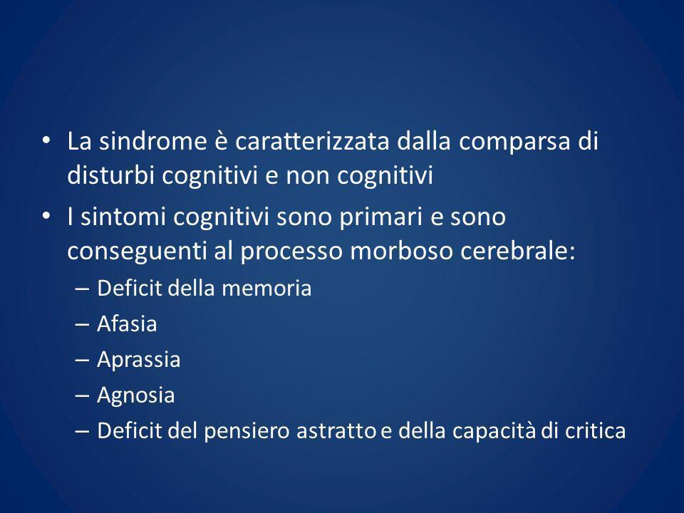 La sindrome è caratterizzata dalla comparsa di disturbi cognitivi e non cognitivi