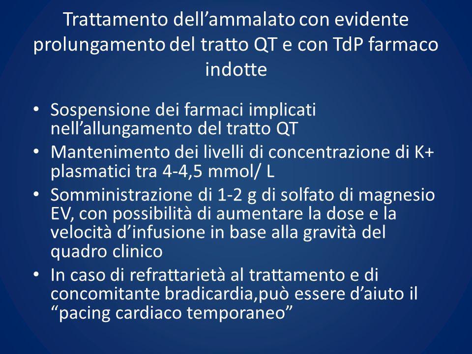 Trattamento dell'ammalato con evidente prolungamento del tratto QT e con TdP farmaco indotte