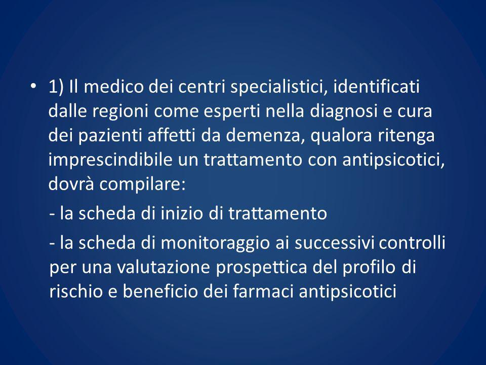 1) Il medico dei centri specialistici, identificati dalle regioni come esperti nella diagnosi e cura dei pazienti affetti da demenza, qualora ritenga imprescindibile un trattamento con antipsicotici, dovrà compilare: