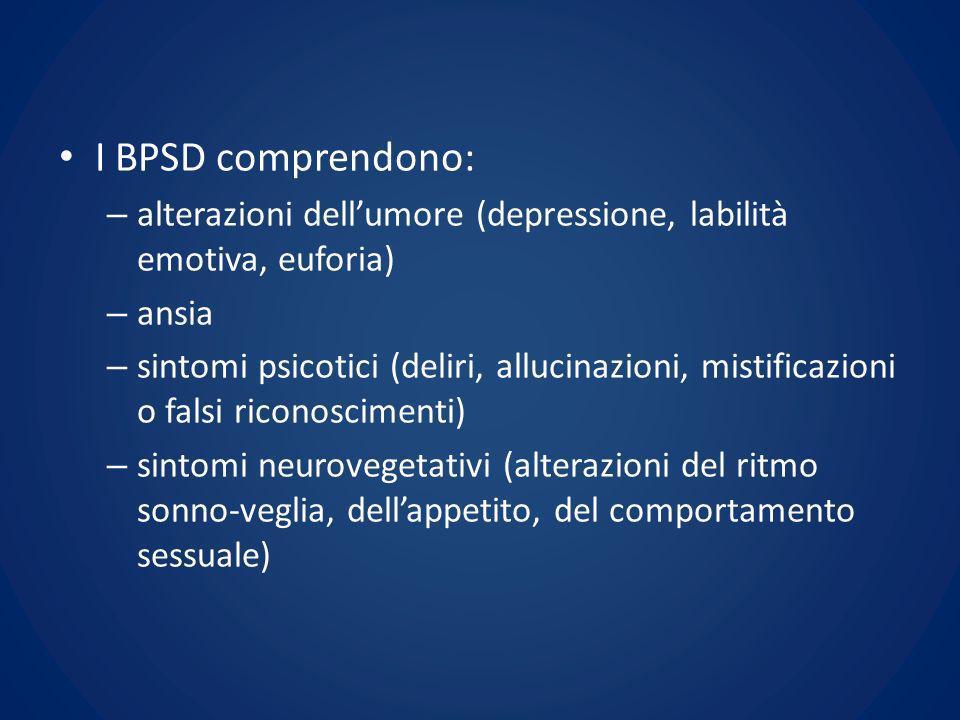 I BPSD comprendono: alterazioni dell'umore (depressione, labilità emotiva, euforia) ansia.