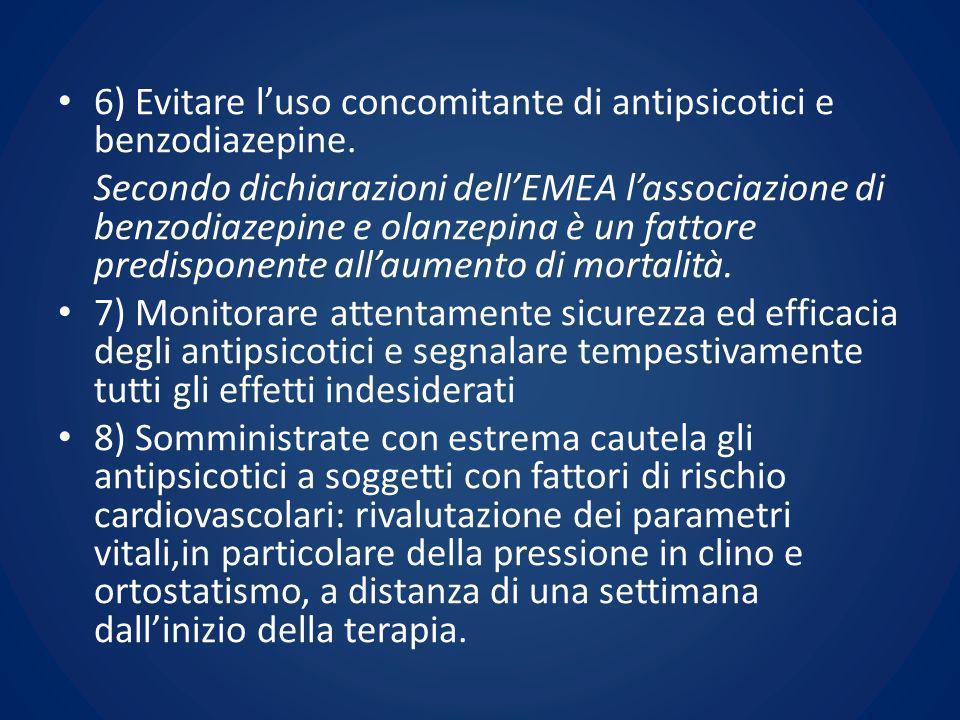 6) Evitare l'uso concomitante di antipsicotici e benzodiazepine.