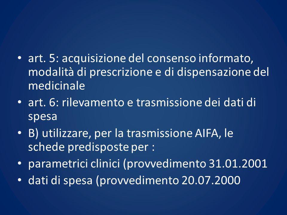 art. 5: acquisizione del consenso informato, modalità di prescrizione e di dispensazione del medicinale