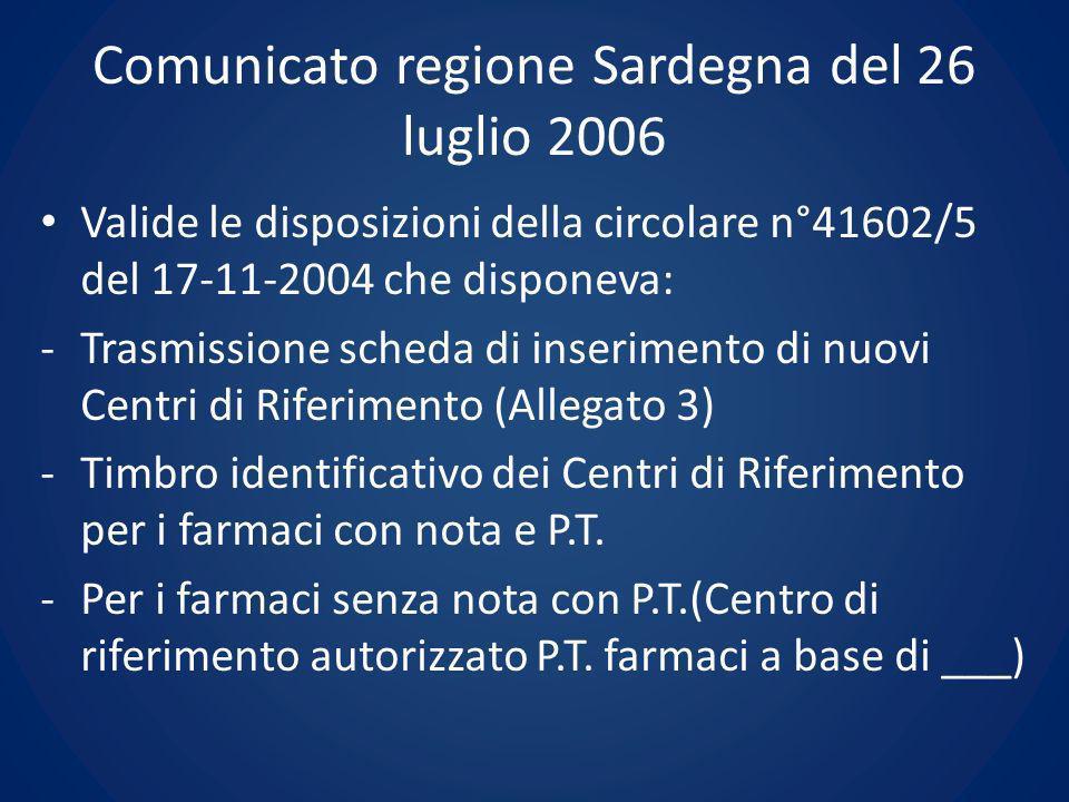 Comunicato regione Sardegna del 26 luglio 2006