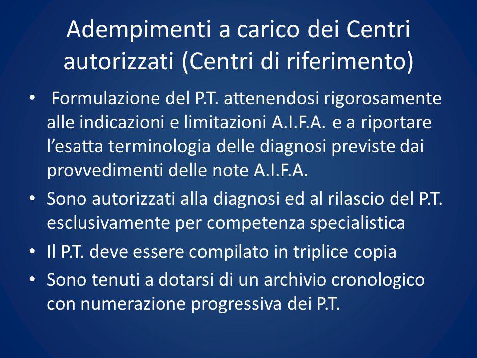 Adempimenti a carico dei Centri autorizzati (Centri di riferimento)