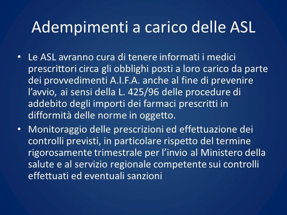 Adempimenti a carico delle ASL