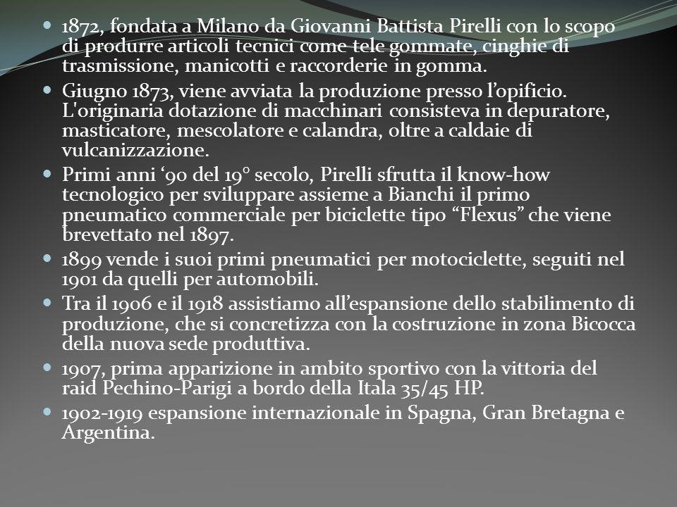 1872, fondata a Milano da Giovanni Battista Pirelli con lo scopo di produrre articoli tecnici come tele gommate, cinghie di trasmissione, manicotti e raccorderie in gomma.