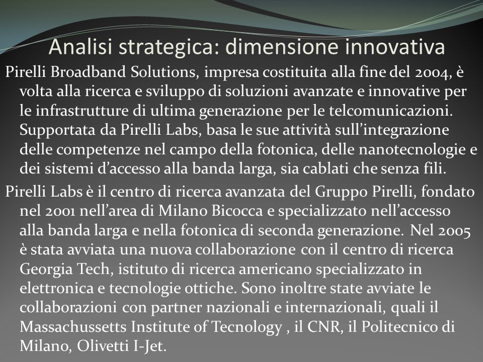 Analisi strategica: dimensione innovativa
