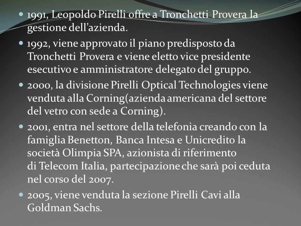 1991, Leopoldo Pirelli offre a Tronchetti Provera la gestione dell'azienda.