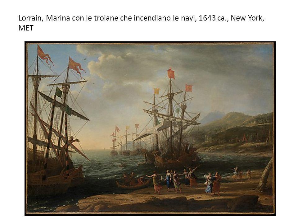 Lorrain, Marina con le troiane che incendiano le navi, 1643 ca