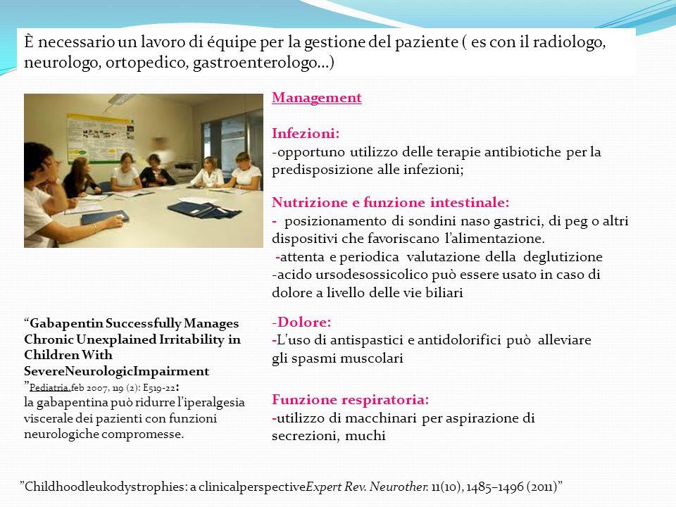 È necessario un lavoro di équipe per la gestione del paziente ( es con il radiologo, neurologo, ortopedico, gastroenterologo…)