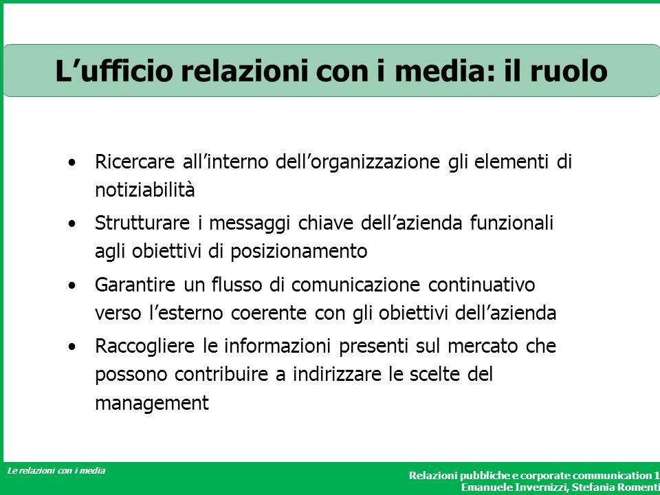 L'ufficio relazioni con i media: il ruolo