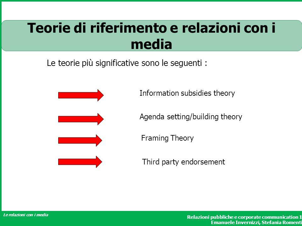 Teorie di riferimento e relazioni con i media