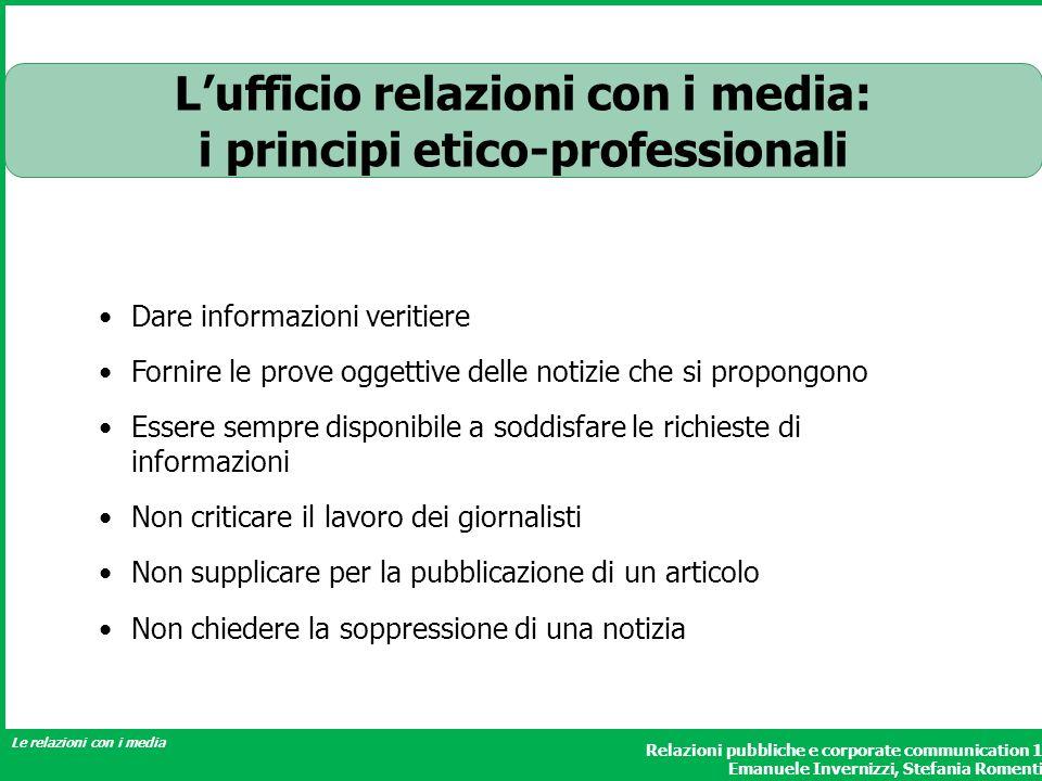 L'ufficio relazioni con i media: i principi etico-professionali