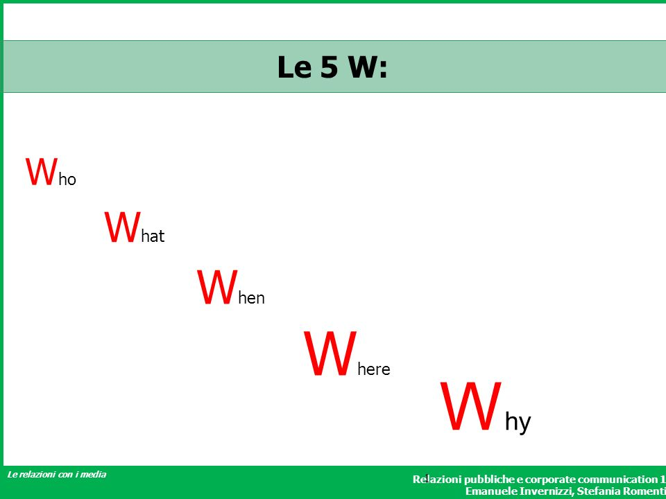 Le 5 W: Who What When Where Why 1