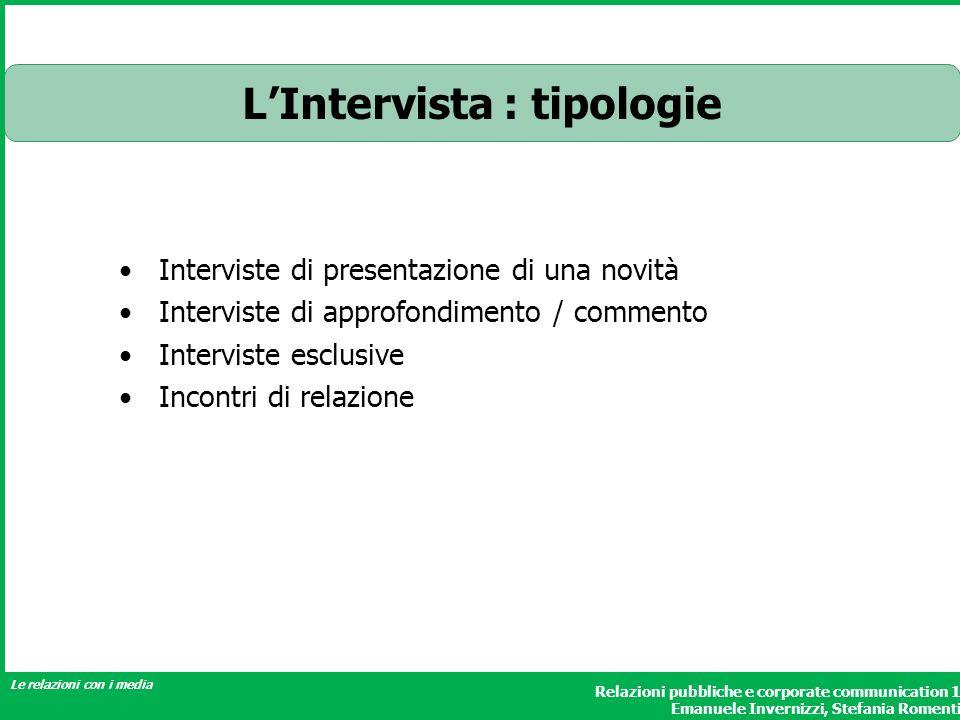 L'Intervista : tipologie