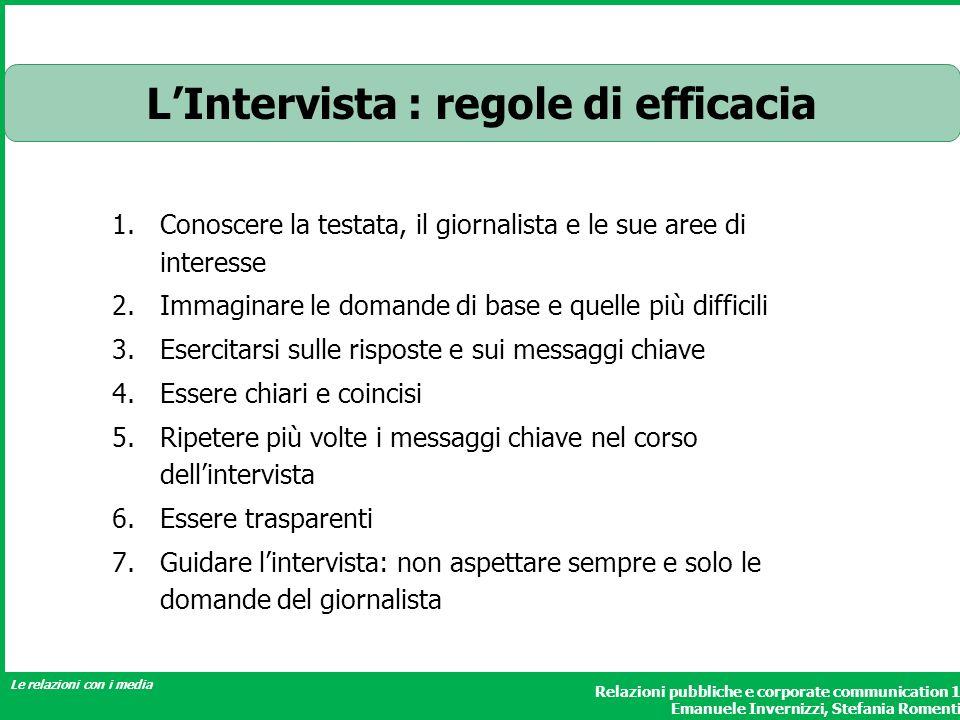L'Intervista : regole di efficacia