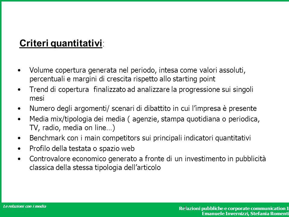 Criteri quantitativi: