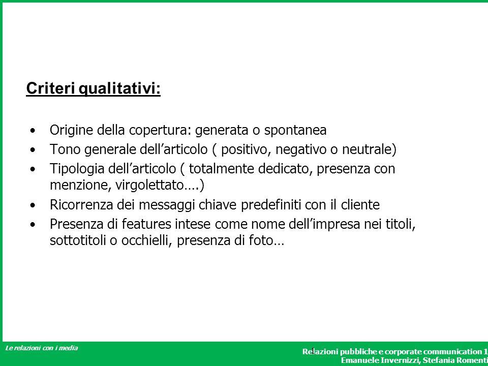 Criteri qualitativi: Origine della copertura: generata o spontanea