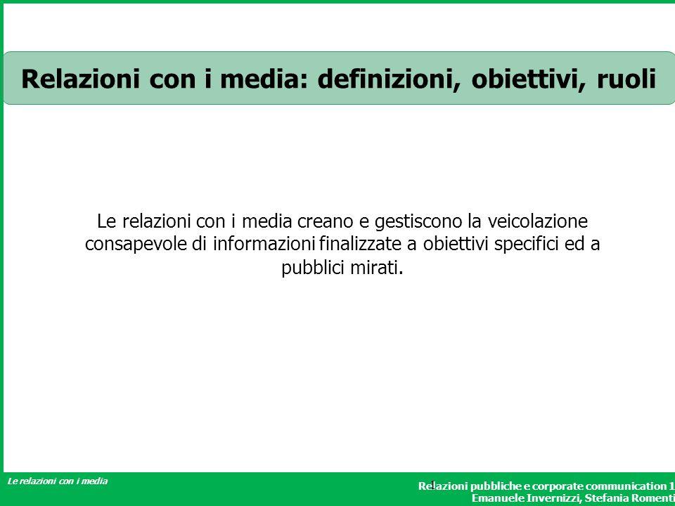 Relazioni con i media: definizioni, obiettivi, ruoli