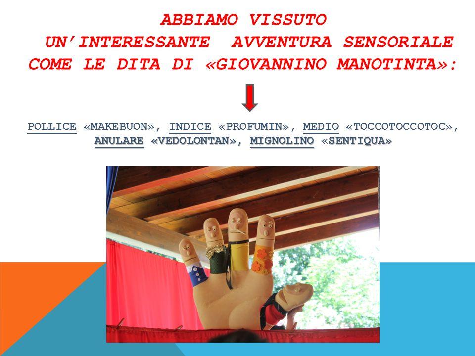 Abbiamo vissuto un'interessante avventura sensoriale come le dita di «Giovannino Manotinta»: Pollice «Makebuon», Indice «Profumin», Medio «Toccotoccotoc», Anulare «Vedolontan», Mignolino «Sentiqua»