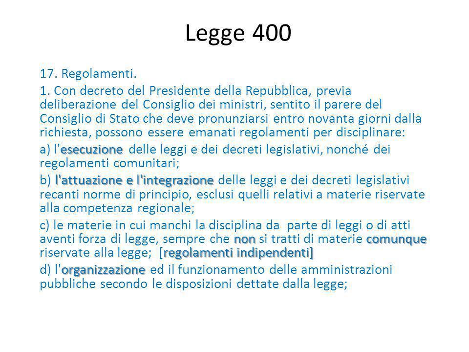 Legge 400 17. Regolamenti.