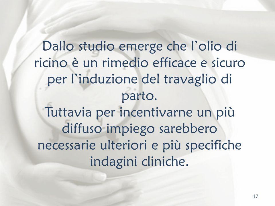 Dallo studio emerge che l'olio di ricino è un rimedio efficace e sicuro per l'induzione del travaglio di parto.