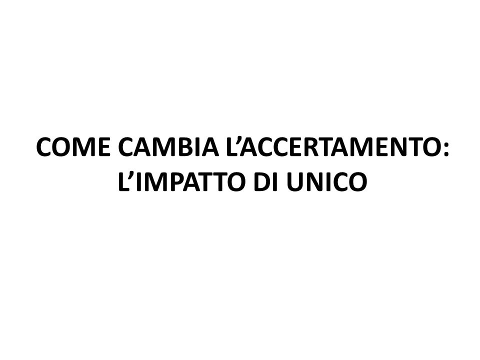 COME CAMBIA L'ACCERTAMENTO: L'IMPATTO DI UNICO