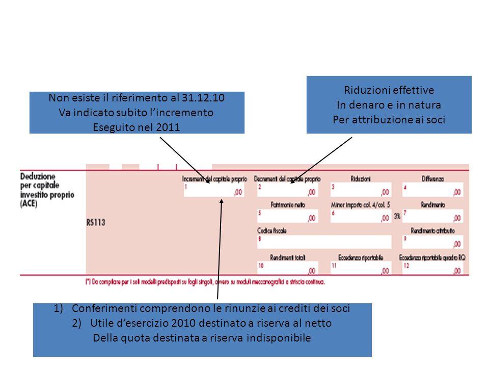 Per attribuzione ai soci Non esiste il riferimento al 31.12.10