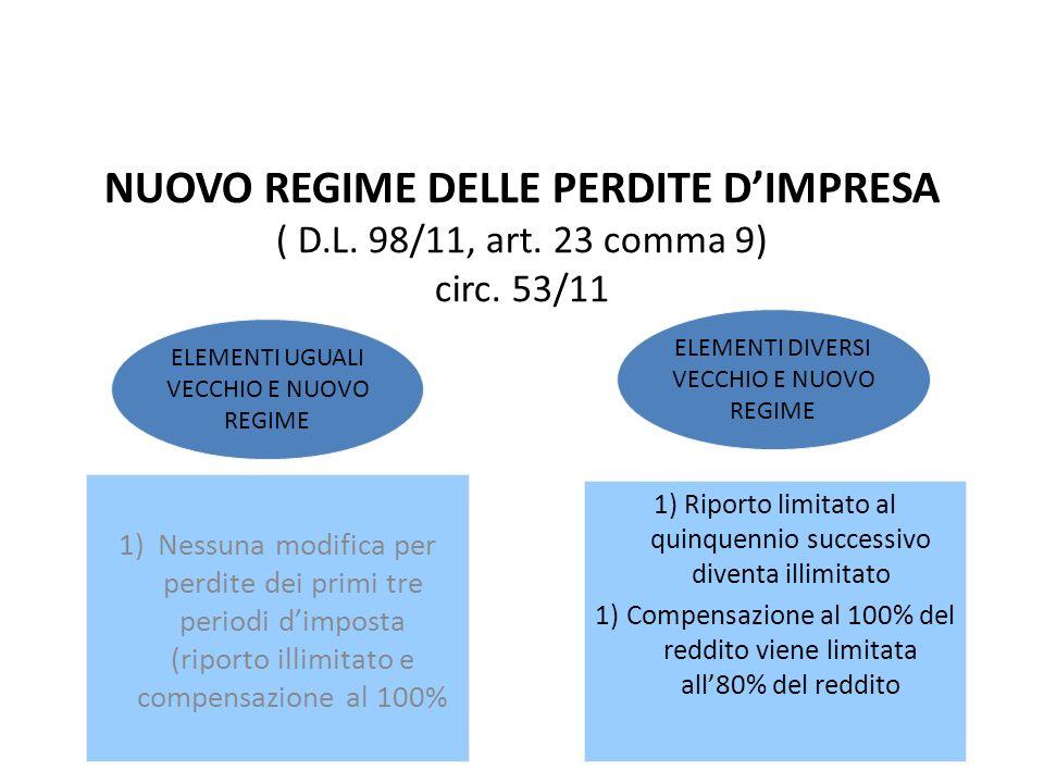IL QUADRO RF NUOVO REGIME DELLE PERDITE D'IMPRESA ( D.L. 98/11, art. 23 comma 9) circ. 53/11. ELEMENTI DIVERSI.