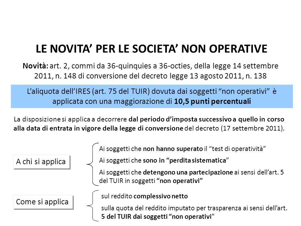 LE NOVITA' PER LE SOCIETA' NON OPERATIVE