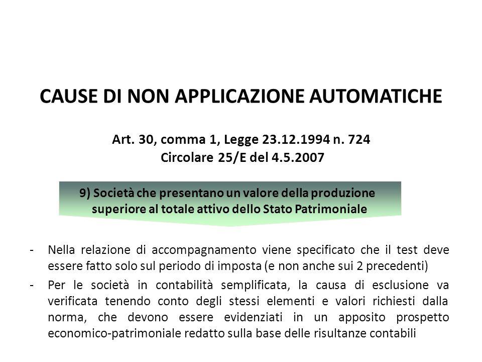 CAUSE DI NON APPLICAZIONE AUTOMATICHE