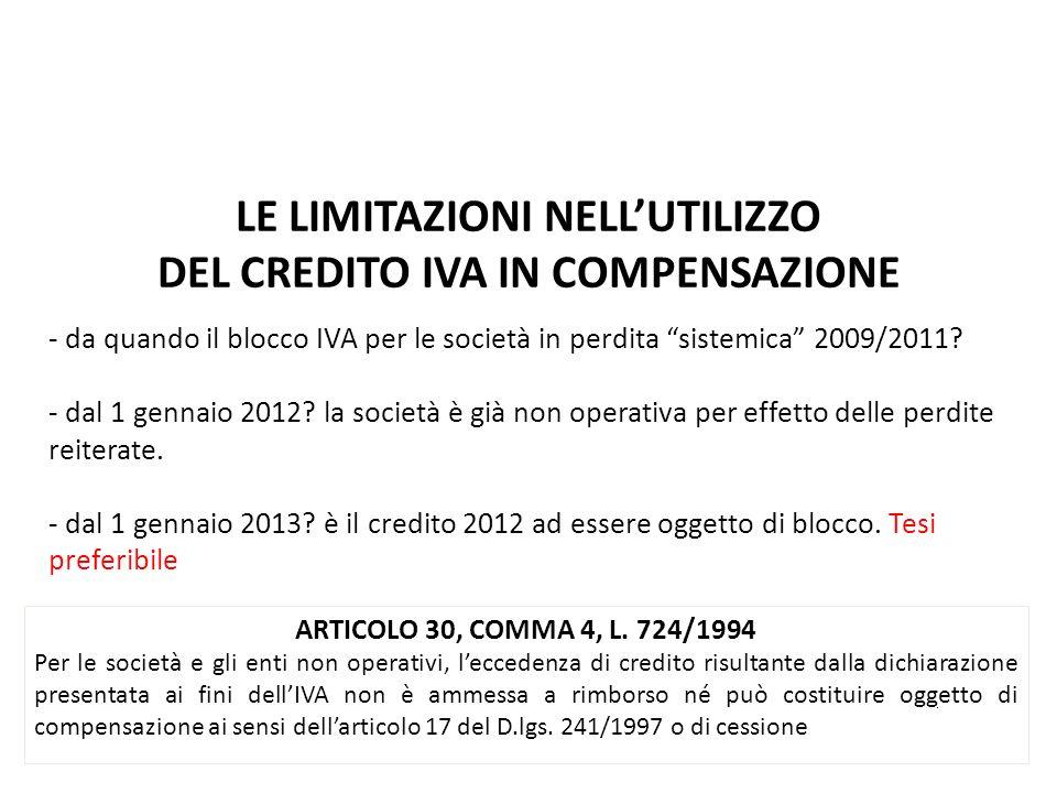 LE LIMITAZIONI NELL'UTILIZZO DEL CREDITO IVA IN COMPENSAZIONE