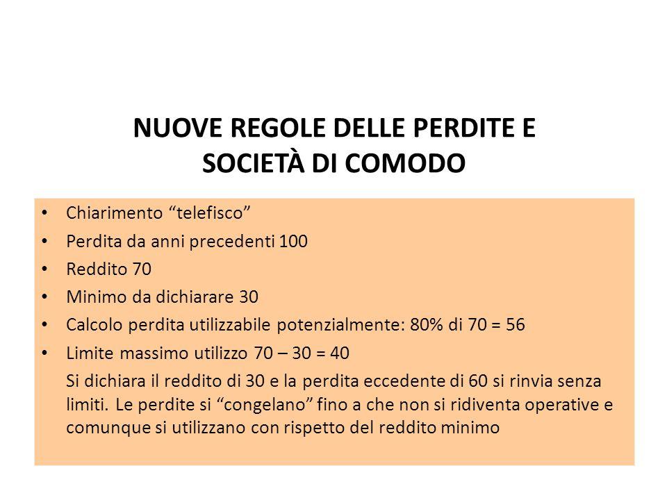 NUOVE REGOLE DELLE PERDITE E SOCIETÀ DI COMODO