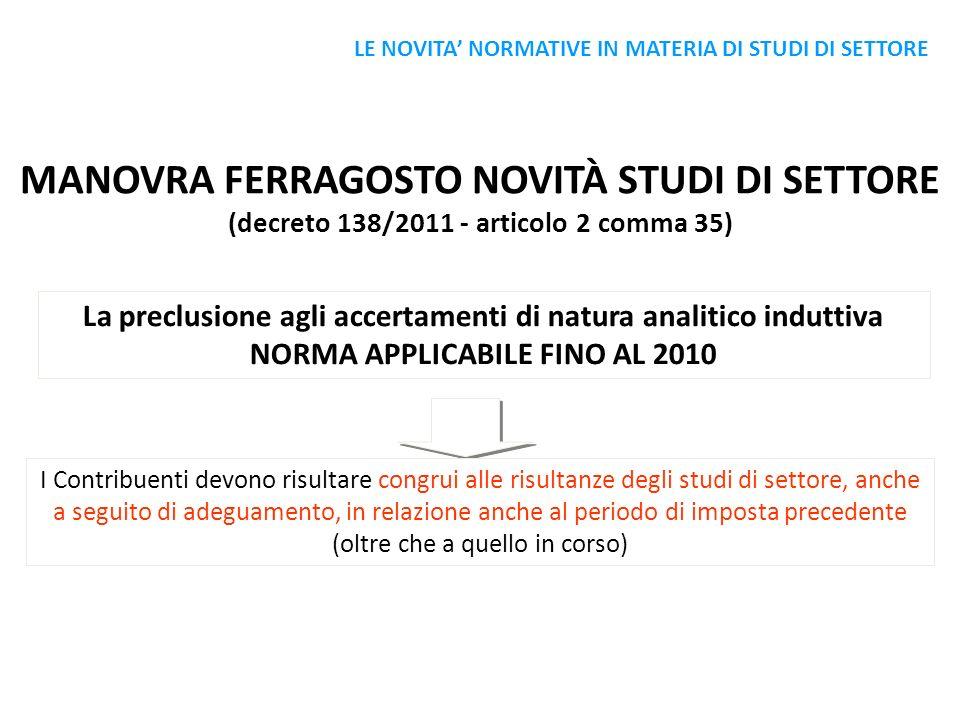 MANOVRA FERRAGOSTO NOVITÀ STUDI DI SETTORE