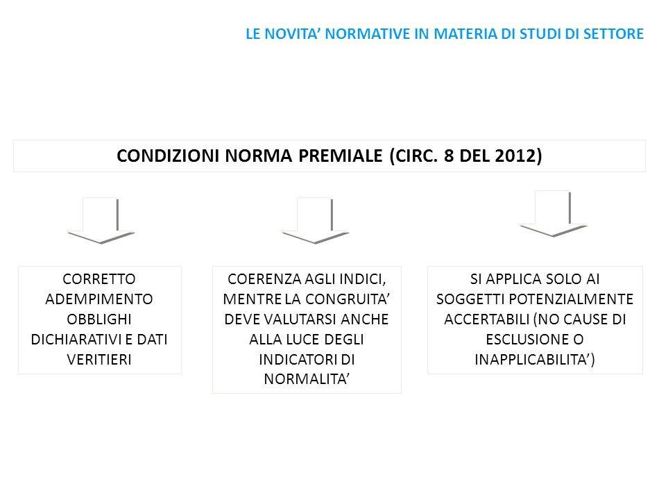 CONDIZIONI NORMA PREMIALE (CIRC. 8 DEL 2012)