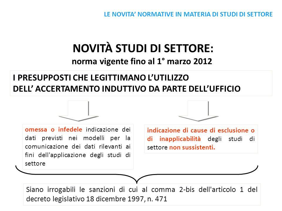 NOVITÀ STUDI DI SETTORE: norma vigente fino al 1° marzo 2012