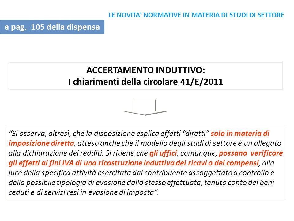 ACCERTAMENTO INDUTTIVO: I chiarimenti della circolare 41/E/2011
