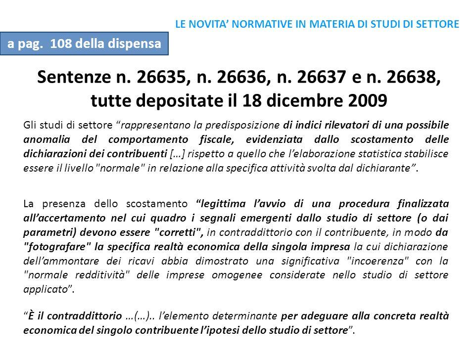 LE NOVITA' NORMATIVE IN MATERIA DI STUDI DI SETTORE