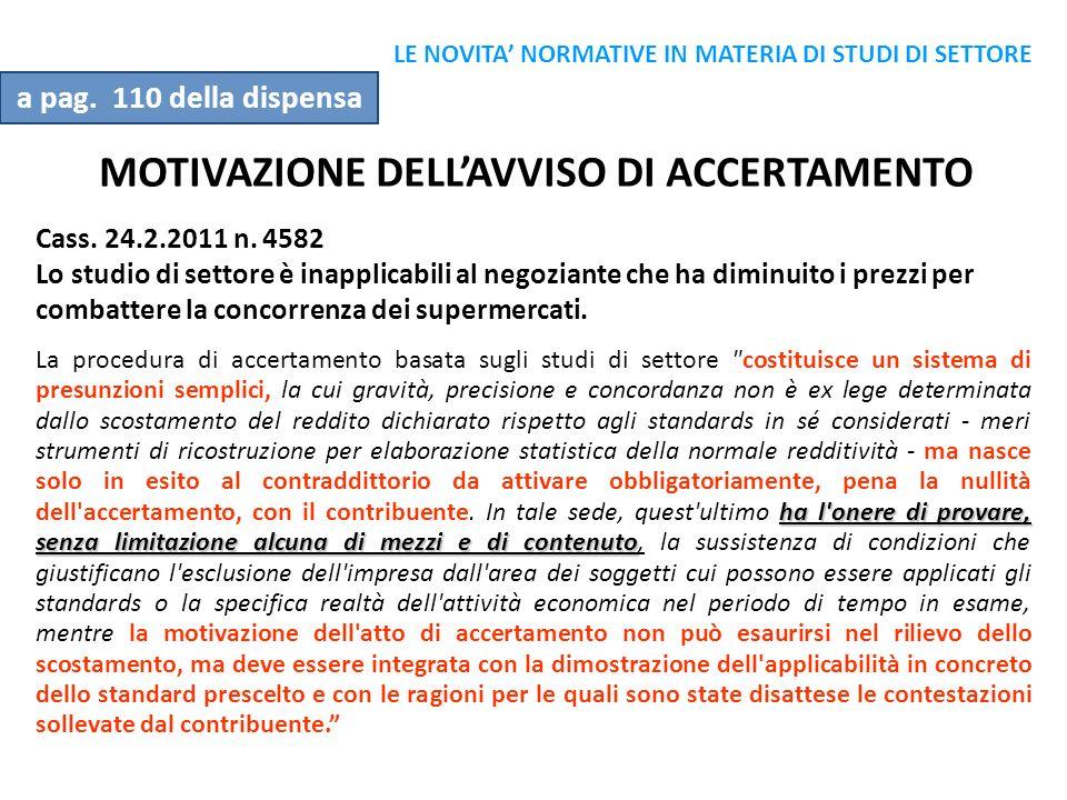 MOTIVAZIONE DELL'AVVISO DI ACCERTAMENTO