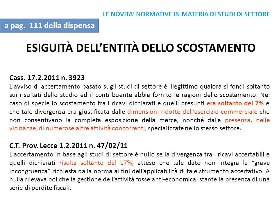 ESIGUITÀ DELL'ENTITÀ DELLO SCOSTAMENTO
