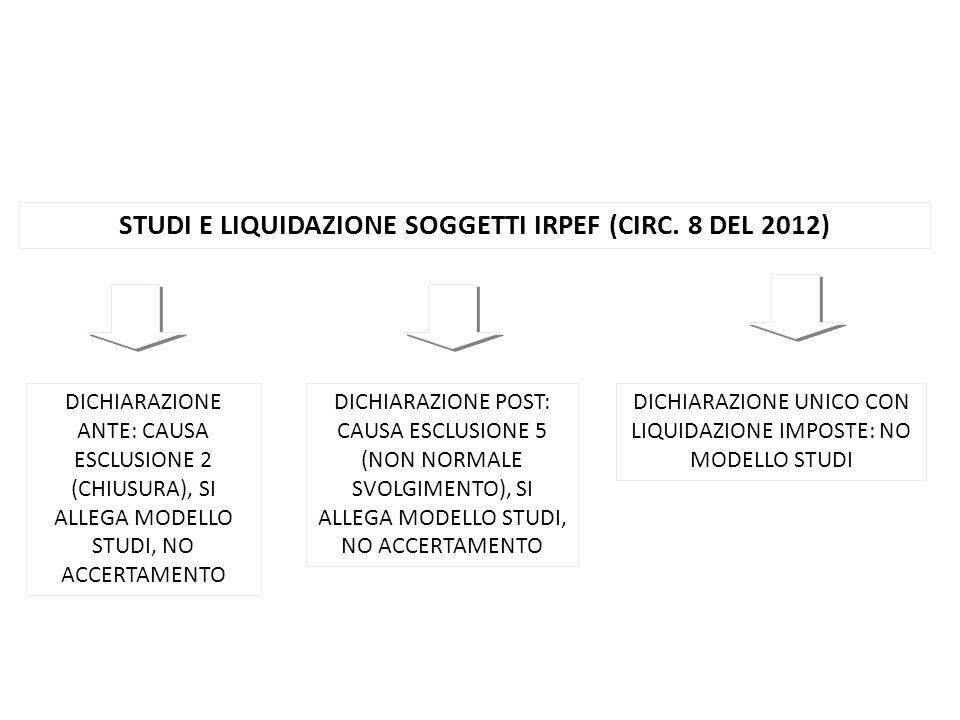 STUDI E LIQUIDAZIONE SOGGETTI IRPEF (CIRC. 8 DEL 2012)